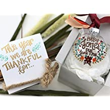 Hand Painted Thanksgiving Baby Pregnancy Announcement Ornament with Gift Box - This Year we are thankful for... Baby Due 2018 - Fall Floral Colors