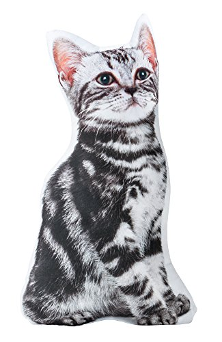 Striped Kitty Cat - The Paragon Cat Shaped Pillow - Grey Tiger Stripe 3-D Stuffed Cushion