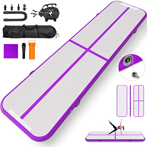 Happybuy 10ft 13ft 16ft 20ft 23ft 26ft 30ft Air Track 8 inches Airtrack 4 inches Inflatable Air Track Tumbling Mat for Gymnastics Martial Arts Cheerleading Tumble Track with Pump Purple 20ft 40x4in