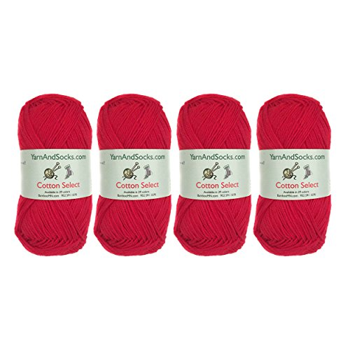 Cotton Select Sport Weight Yarn - 100% Fine Cotton - 4 Skeins - Col 402 - Cardinal Red (Dk Cotton Yarn Weight)