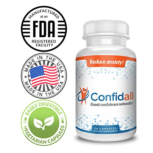 CONFIDALL - Confidence Boosting Anti Anxiety Anti Depressant Positive Mood Enhancer 5HTP GABA Nootropic Supplement Reduce Stress Increase Focus Be Calm Relax 30 Capsules New