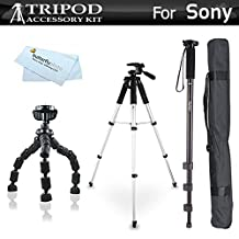 Tripod Accessory Bundle Kit For Sony a6000, a6300, Alpha a7 a57 a55 a33 a35 a390 DSC-HX100 NEX-5TL NEX3, A65, SLT-A57 DSC-RX100, DSC-RX100M III, DSC-RX1R, DSCHX90V/B, DSCWX500/B Includes 57 Tripod + 67 Monopod + 10 Flexible Tripod