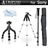 Tripod Accessory Bundle Kit For Sony a6000, Alpha a7 a57 a55 a33 a35 a390 DSC-HX100 NEX-5TL NEX3, A65, SLT-A57 DSC-RX100, DSC-RX100M III, DSC-RX1R Includes 57 Tripod + 67 Monopod + 10 Flexible Tripod