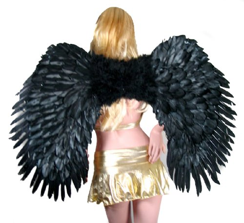 SACASUSA Super Large Black Feather Angel wings Men Women Halloween]()