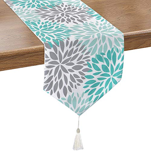 Smurfs Yingda Dahlia Pinnata Table Runner with Tassels, Green & Gray Print Flower Table Runners for Catering Events, Dinner Parties, Wedding, Summer Parties, Indoor and Outdoor Parties, 12