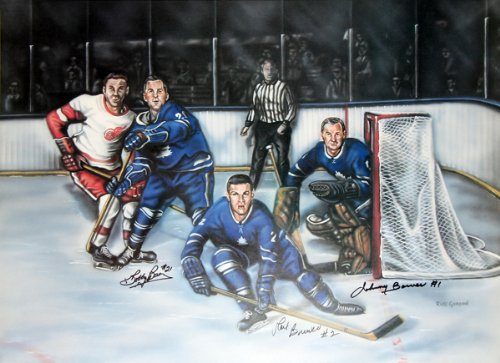 Baun, Brewer & Johnny Bower Signed Maple Leafs Last Line of Defence 24x18 Litho ()