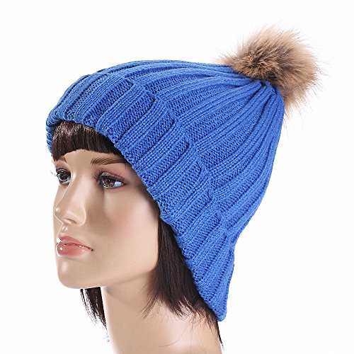 Thug Life Mask With Bandana (Maoko Women's Pom Pom Knit Beanie Hat MK013 Blue)