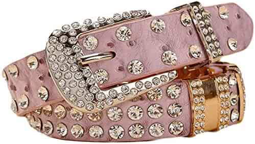 1e6636a01 Ayli Womens Rhinestone Bling and Ostrich Skin Embossed Leather Jean Belt