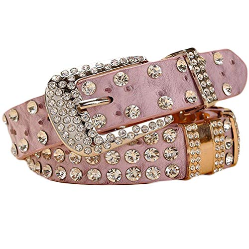 Ayli Women's Sparkling Rhinestone Bling and Ostrich Skin Embossed Leather Jean Belt, Free Gift Box, Lavender Pink, Fits Waist 25