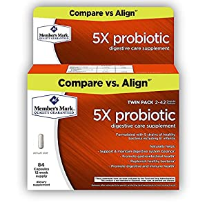 Member's Mark - 5X Probiotic, Digestive Care Supplement, 84 Capsules (Compare to Align)