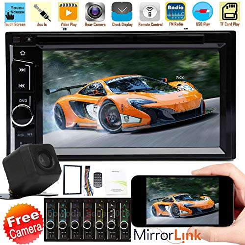 Double Din In Dash 6.2 Inch Car Stereo CD DVD Video MP3 MP5 Headunit Player FM AM Radio Bluetooth Mirror Link Touch Screen Support Subwoofer+ Backup Camera for 1995-2002 Chevy GMC