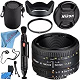 Nikon AF NIKKOR 50mm f/1.8D Lens 2137 + 52mm UV Filter + 52mm Tulip Lens Hood + Lens Pen Cleaner + Fibercloth + Lens Capkeeper + Lens Pouch + Lens Cleaning Kit Bundle