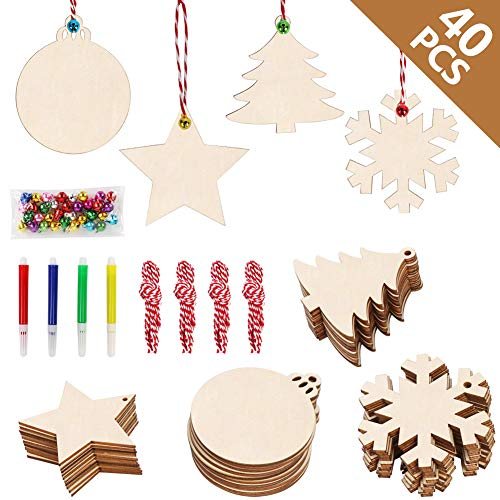 Christmas Kid Crafts - OurWarm 40pcs Wooden Christmas Ornaments Unfinished