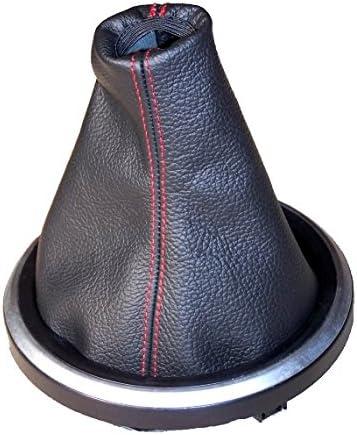The Tuning-Shop Ltd Soufflet Pour Changement De Vitesse En Cuir Noir Et Coutures Rouge
