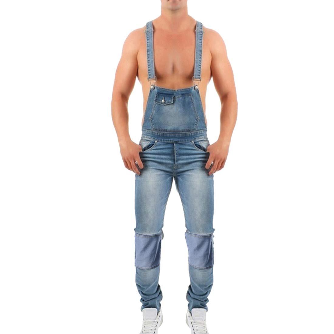 Shujin Herren Retro Lange Jeans Latzhose Denim Overalls Skinny Fit Stone-Washed zerrei/ßen Arbeitshosen Jumpsuit