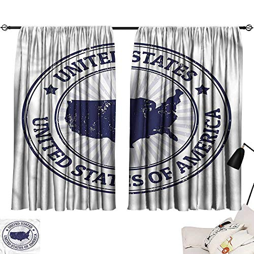 Darkening/Blackout Darkening Curtains USA Map,Federal National Symbol,Fashion Curtain for Living Room W72 x -