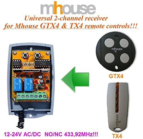 2-canal Mhouse GTX4, TX4receptor, 12–24V AC/DC, no/NC 433,92mhz rolling code