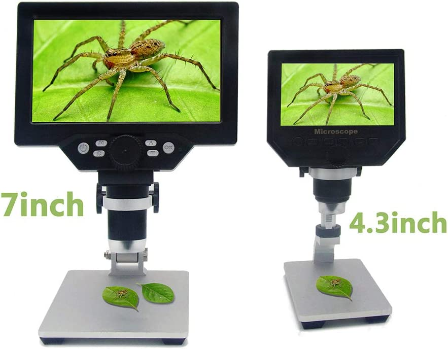 H-LML Home Digital Microscope 7 Inch 4.3 Inch TFT Color Screen USB Interface 1200X Magnification 1200W Pixel 8 LED Beads 1080P Resolution,7 inches