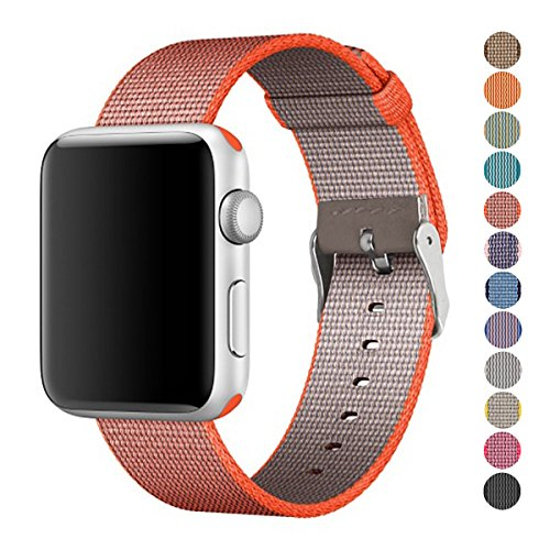 Pantheon Woven Nylon Replacement Band for the Apple Watch by, Women's or Men's, Strap fits the 38mm or 42mm for Apple iWatch 1, 2, 3 and Nike edition (Solid, Orange and Gray, 42mm)