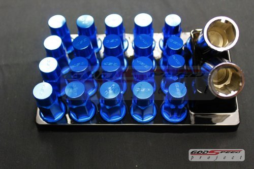 Godspeed Type-4 Wheel Rim Racing Lug Nuts 50mm 20 Piece W / Lock M12 X 1.5 Blue Color Fit ALL Honda , Accord , Accord Wagon , Civic , Civic (Honda Civic Wagon Wagon)