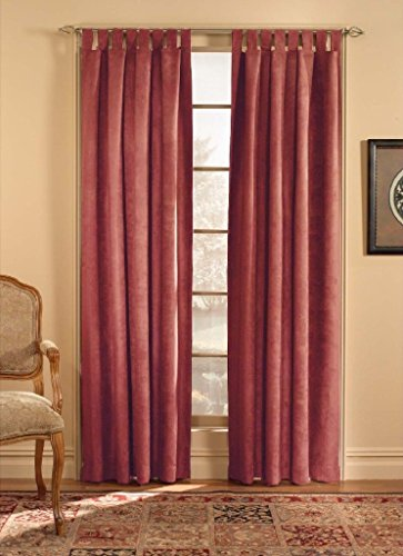 Suede Tab Top Window - CHF & You Ultra Suede Tab Top Window Curtain Panel, Red, 50-Inch X 108-Inch