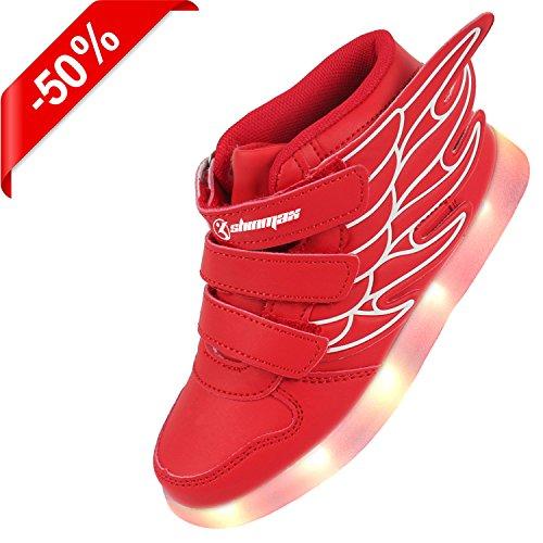 Shinmax Light Up Schuhe, LED Schuhe LED Turnschuhe Breathable 7 Farben Light Schuhe für Männer & Frauen, Kid Schuhe rot