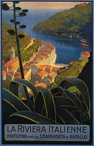 La Riviera Italienne: From Rapallo to Portofino - Vintage Travel Poster (24x36 SIGNED Print Master Giclee Print w/Certificate of Authenticity - Wall Decor Travel ()
