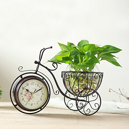 ビンテージ風 自転車型おしゃれな置時計 両面 文字盤 グラス付き2色 B01D4MHJQI コーヒー色 コーヒー色