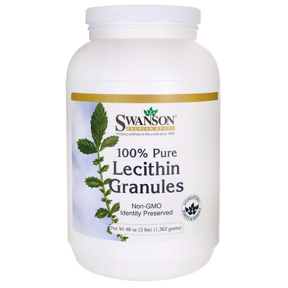 Swanson Lecithin Granules 100% Pure Non-GMO Lecithin Brain Heart Nervous System Support Supplement 48 Ounce (3 lbs) (1,362 g) Granules by Swanson