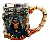 Atlantic Collectibles Day Of The Dead Holy Death Fire Grim Reaper With Scythe Beer Stein Tankard Coffee Cup Drink Mug 12oz