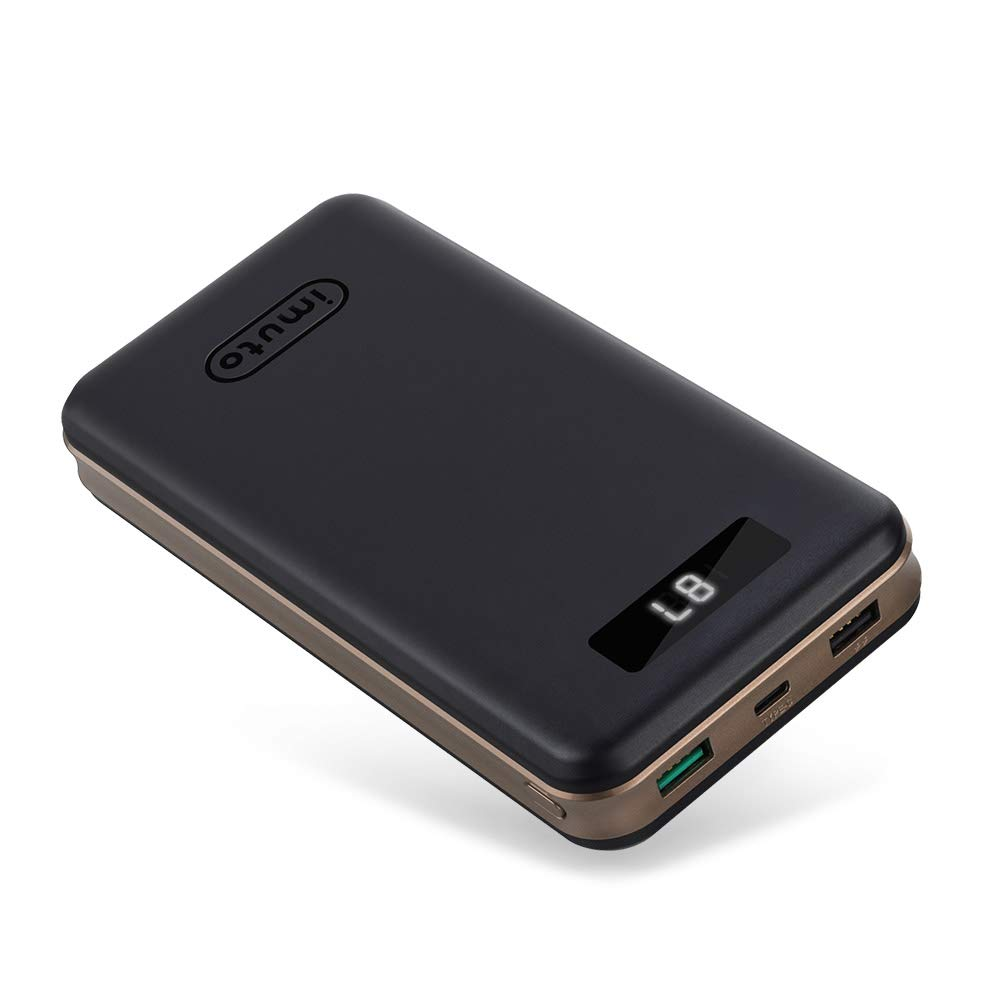 iMuto Portable Charger 30000mAh, Qualcomm Quick Charge 3.0 and USB-C Type-C Ports Power Bank External Battery Pack for Samsung Galaxy S10/S9, iPhone 11/X/8/7/6/Plus, iPad, Nintendo Switch and More by imuto