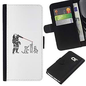 YiPhone /// Tirón de la caja Cartera de cuero con ranuras para tarjetas - Gatos Predator - Funny - Samsung Galaxy S6 EDGE