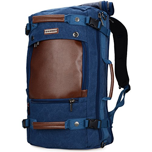 WITZMAN Men Travel Backpack Canvas Rucksack Vintage Duffel Bag A2021 (21 INCH Blue)