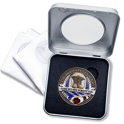 Fallen Hero Soldier Challenge Coin in Deluxe Presentation Box with bonus polishing cloth -