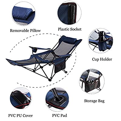 Seatopia Camping Recliner and Lounge Chair, Backpacking Folding Chair with Headrest, Footrest and Storage Bag for Outdoor Camping, BBQ, 300lbs Weight Capacity
