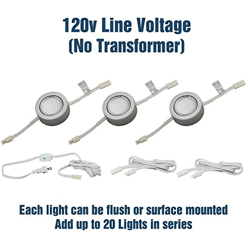 3 LED Puck Light Kit – Silver Cover with Warm White Light (3,000k) - Under Cabinet and Furniture - 120v/110v - Dimmable - Line-voltage (No Transformer Needed) (Warm White Light (Line Voltage Transformer)