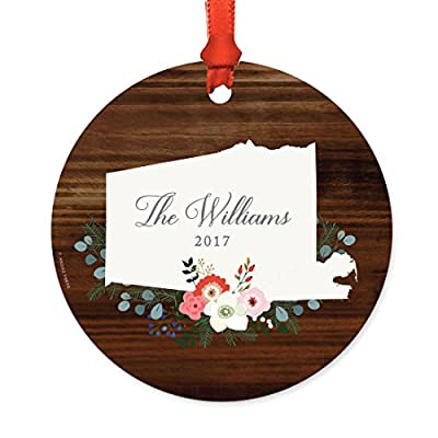 Andaz Press Personalized US State Wood with Florals Round Metal Christmas Ornament