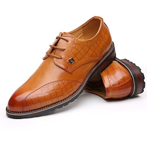 GRRONG Zapatos De Cuero De Los Hombres De Negocios De Ocio Acentuadas Negro Marrón Brown
