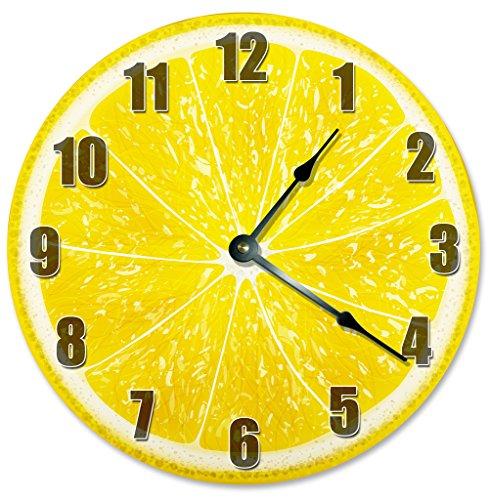 Amazon.com: YELLOW LEMON CLOCK Decorative Round Wall Clock Home ...