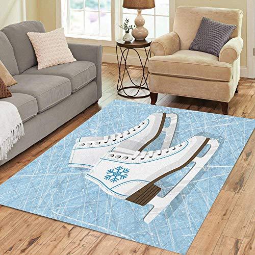 Pinbeam Area Rug Blue Pair of White Ice Skates Figure Women Home Decor Floor Rug 5' x 7' Carpet -