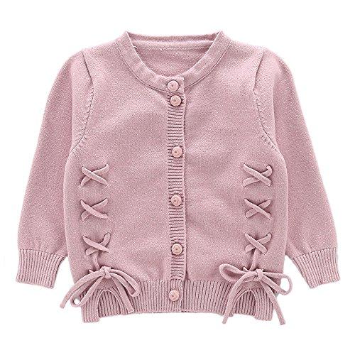 Moonnut Girls Cardigan Sweaters Cute Alpaca Pattern Long Sleeve Knitted Outwear (2T, Lace-up-Pink) ()