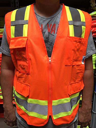 Surveyor Orange Two Tones Safety Vest , ANSI/ ISEA 107-2015/ Photo ID Pocket (Hi Viz Orange Safety Vest)