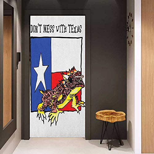 Onefzc Self-Adhesive Wall Murals Reptile Illustration of Cute Warrior Horned Toad Standing for Texas City American Dream Sticker Removable Door Decal W23.6 x H78.7 Multicolor (Texas Toads Cartoon)