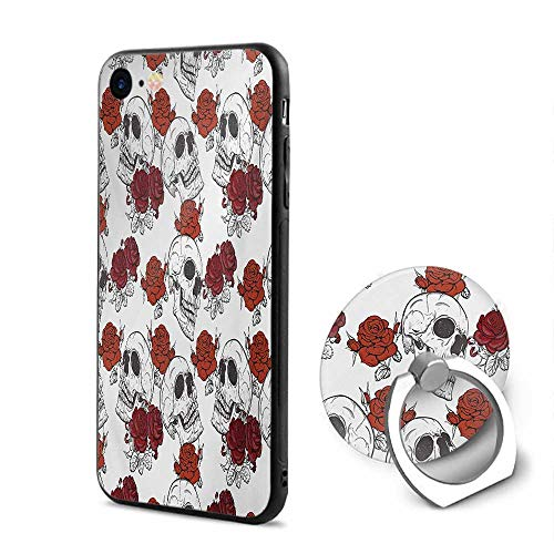 Skull iPhone 6/iPhone 6s Cases,Retro Gothic Dead Head Skeleton Figures with Roses Halloween Theme Spooky Trippy Romantic Grey,Mobile Phone Shell Ring Bracket ()
