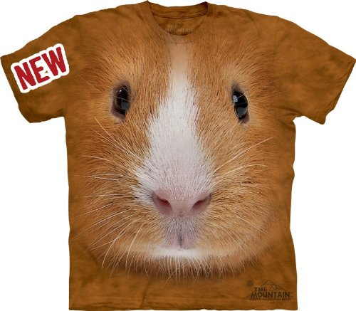 (Mountain Guinea Pig Face Adult Size T-shirt , Brown ,)