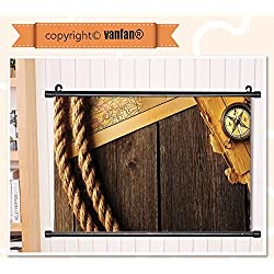 vanfan Wall Scroll Poster- Compass Decor Collection Antique Brass Compas Wall Art Waves Paiting on Canvas, Pictures Wall Hanging Canvas Scroll Paintings For Living Room(67x24)