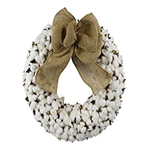 Cotton Wreath With Burlap Bow For Rustic Farmhouse Decor - 18 inches 4