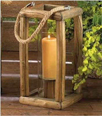 """12"""" Small Wooden Candle Lantern With Hurricane Glass Cylinder"""