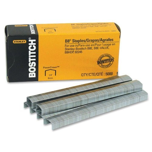Bostitch B8 PowerCrown Premium Staples, 0.25 Inch Leg, Full-Strip (STCR21151/4), Pack of 12 by Bostitch Office