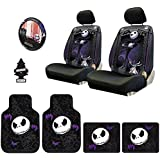 New Design 10 Pieces Nightmare Before Christmas Jack Skellington Car Truck SUV Seat Covers Rubber Front and Rear Floor Mat Set with Little Tree Air Freshener